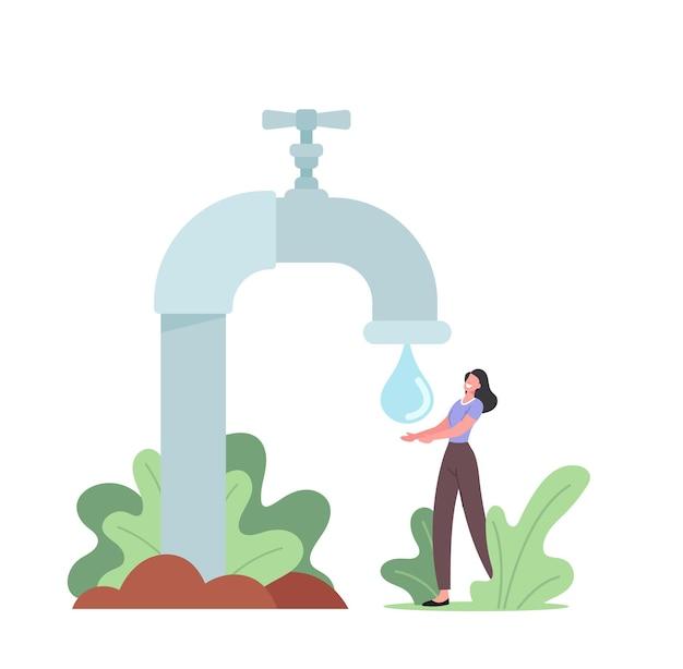 Drobna postać kobieca złap kroplę wody z ogromnego kranu. kobieta kupuje czystą wodę pitną, klient kupuje fresh aqua dla dobrego zdrowia, dobrego samopoczucia i świeżości. ilustracja wektorowa kreskówka ludzie