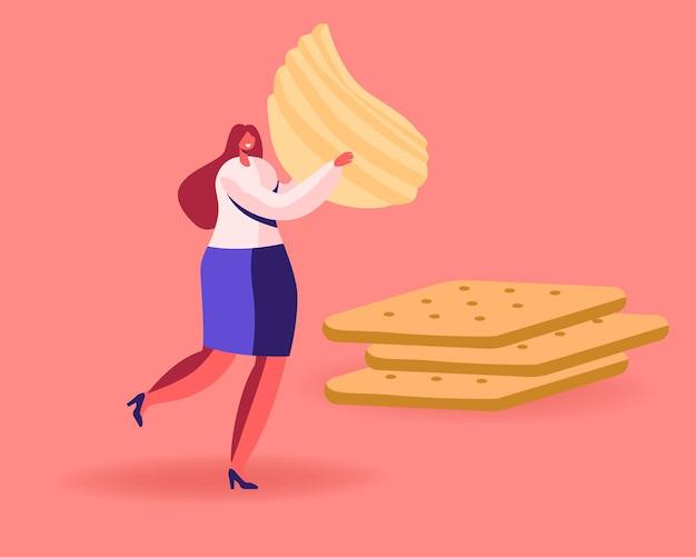 Drobna postać żeńska niesie ogromne faliste chipsy ziemniaczane, przechodząc obok stosu krakersów. płaskie ilustracja kreskówka