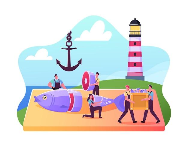 Drobne męskie i żeńskie postacie rybackie tnące świeże surowe ryby na wybrzeżu za pomocą latarni morskiej i kotwicy, handel detaliczny owocami morza i dystrybucja w sklepach, przemysł rybny. ilustracja wektorowa kreskówka ludzie