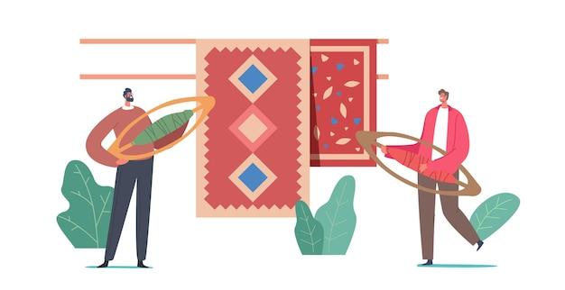 Drobne męskie postacie z tkackimi czółenkami w pobliżu dywanów z tradycyjnym orientalnym ornamentem