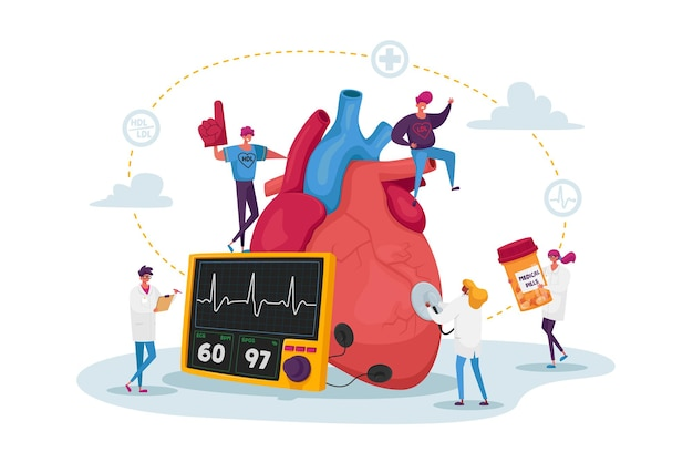 Drobne postacie doktora z lekami i sprzętem w ogromnym ludzkim sercu