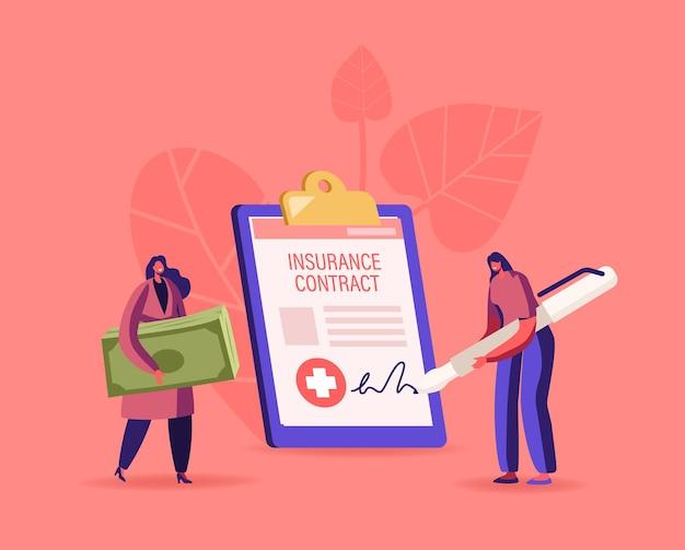 Drobne postacie kobiece klientki z rachunkami pieniężnymi, podpisujące ogromny dokument papierowy z polisą ubezpieczenia zdrowotnego