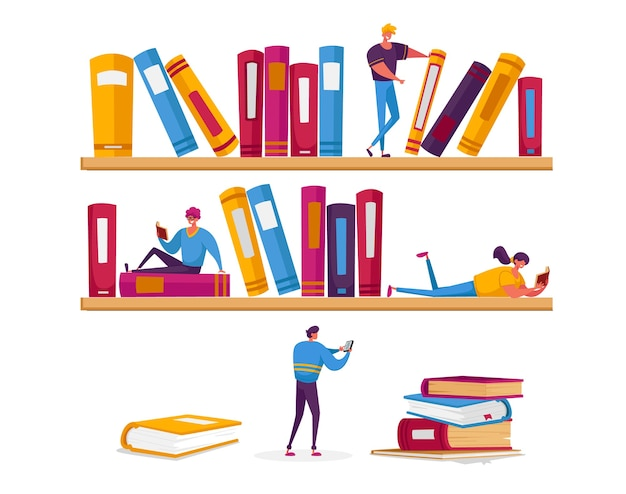 Drobne postacie kobiet i mężczyzn czytające w bibliotece, siedzące na ogromnych półkach z książkami.