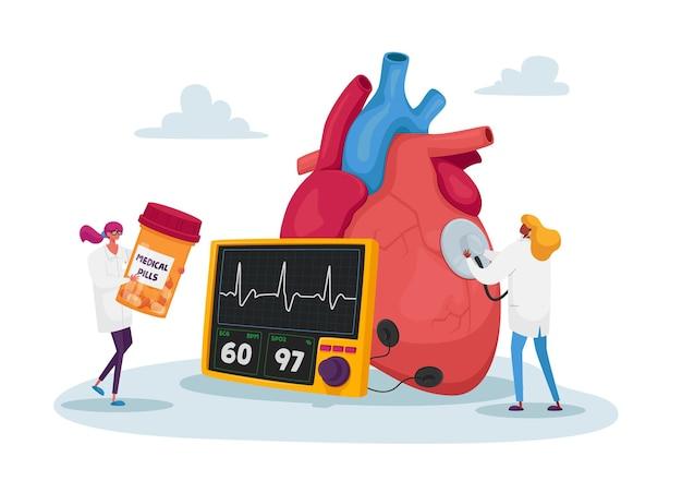 Drobne postacie lekarza na ogromnym tętnie do pomiaru ludzkiego serca za pomocą stetoskopu