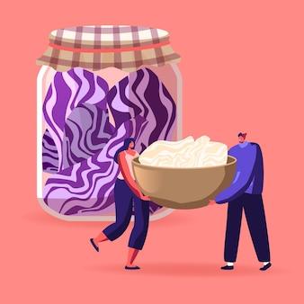 Drobne postacie męskie i żeńskie gotują fermentowane jedzenie w szklanych słoikach. ilustracja kreskówka