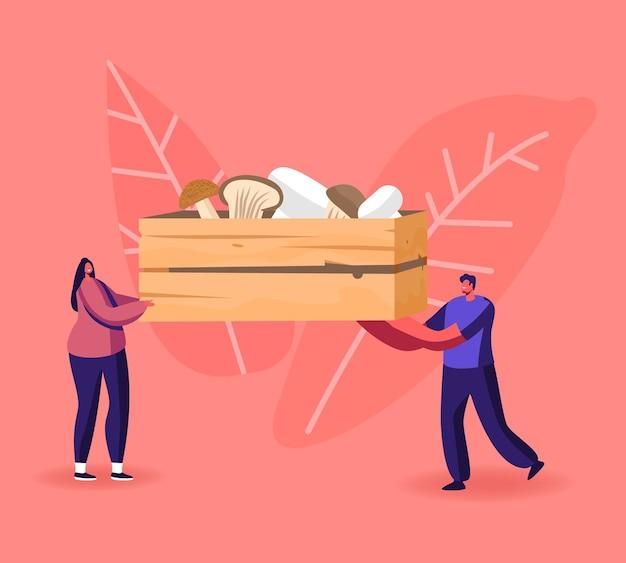 Drobne postacie męskie i żeńskie niosą ogromne drewniane pudełko z różnymi ilustracjami grzybów.
