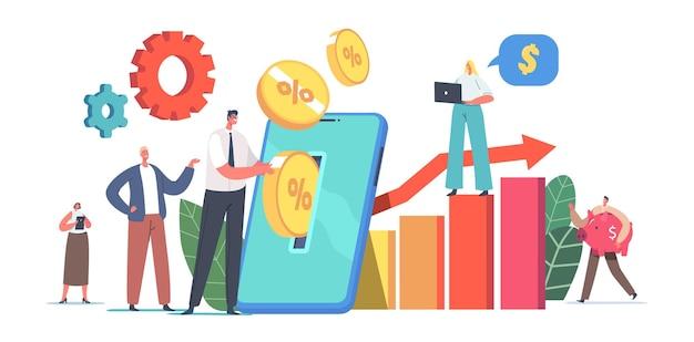 Drobne postacie męskie i żeńskie umieszczają złote monety na ogromnym ekranie smartfona, dokonując mobilnych oszczędności i lokat finansowych online, skarbonka. ilustracja wektorowa kreskówka ludzie