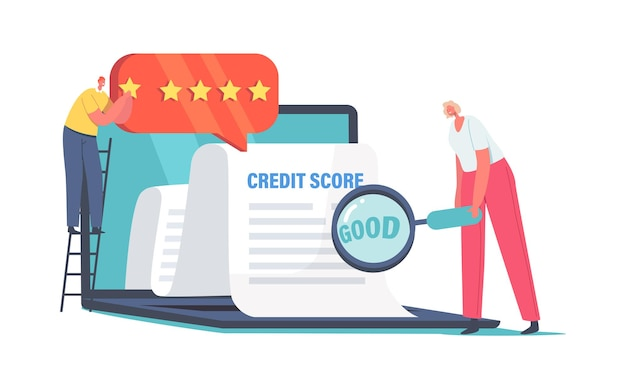 Drobne postacie męskie i żeńskie w ogromnym laptopie analizuj ocenę kredytową w celu zatwierdzenia pożyczki. doskonałe warunki ratingu bankowego. pojęcie zdolności kredytowej klientów. ilustracja wektorowa kreskówka ludzie