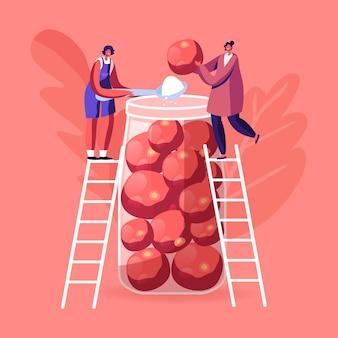 Drobne postacie żeńskie stoją na drabinach i wkładają dojrzałe pomidory i sól do ogromnego szklanego słoika. ilustracja kreskówka