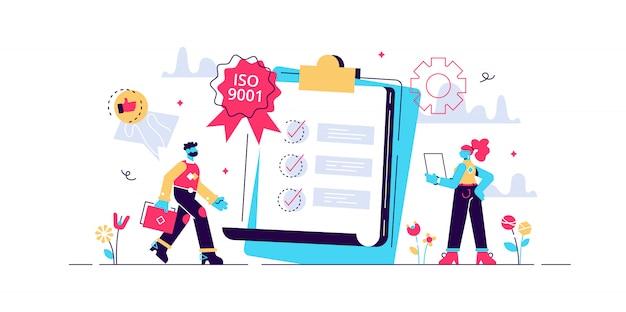 Drobni biznesmeni lubią standard kontroli jakości. norma kontroli jakości, norma iso 9001, koncepcja międzynarodowej certyfikacji. jasny żywy fiolet na białym tle ilustracja