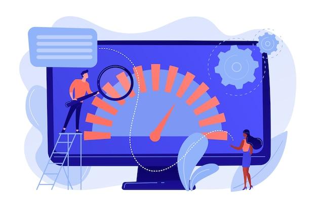 Drobni biznesmeni patrzą na wskaźnik wydajności produktu