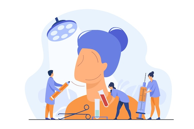 Drobni chirurdzy kosmetyczni rysujący ślady na ogromnej kobiecej twarzy, trzymając probówki i strzykawkę do wstrzyknięcia. ilustracja wektorowa do chirurgii plastycznej, pielęgnacji urody, koncepcji korekcji twarzy