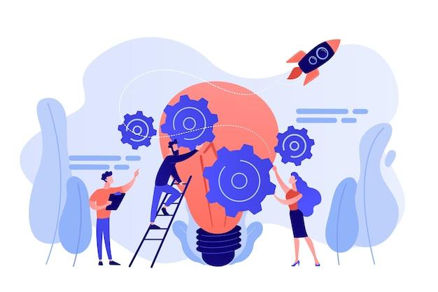 Drobni ludzie biznesu generujący pomysły i trzymający koła zębate przy dużej żarówce. zarządzanie pomysłami, alternatywne myślenie, ilustracja koncepcja wyboru najlepszego rozwiązania