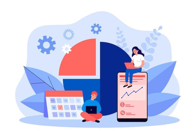 Drobni ludzie biznesu planujący projekty pracy. pracownicy biurowi pracujący z harmonogramem kalendarza, wykresy płaskie wektor ilustracja. koncepcja zarządzania czasem dla banera, projektu strony internetowej lub strony docelowej