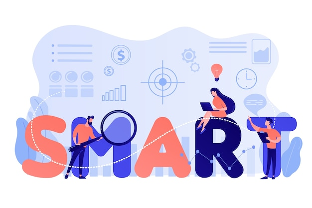 Drobni ludzie biznesu pracujący nad celami i siedzący na inteligentnym słowie. cele smart, ustalenie celów, koncepcja rozwoju celów mierzalnych