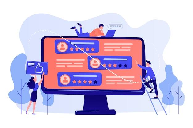 Drobni ludzie biznesu używający witryny z ocenami do głosowania na ludzi na ekranie komputera. ocena witryny, profesjonalna witryna rankingowa, ilustracja koncepcji strony z oceną treści