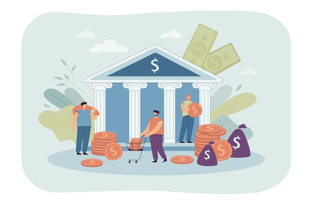 Drobni ludzie deponujący lub biorący pieniądze z banku rządowego. płaska ilustracja