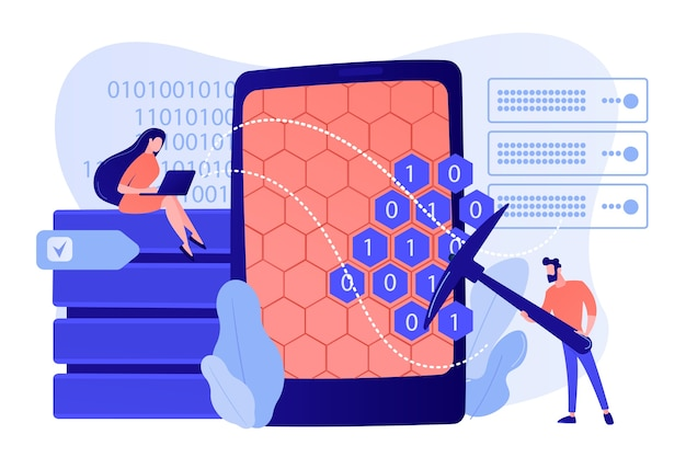 Drobni ludzie, naukowcy przy tablecie z kilofem. eksploracja danych, pozyskiwanie hurtowni danych, koncepcja technik zbierania danych