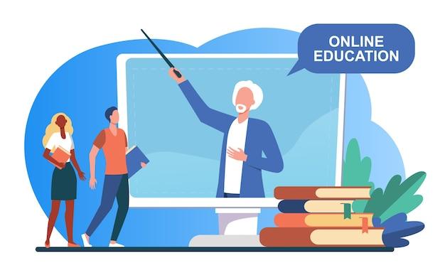Drobni ludzie słuchają wykładowcy na ekranie komputera. książka, student, nauczyciel płaski wektor ilustracja. studia i edukacja online