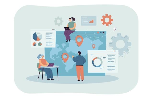 Drobni ludzie z laptopami robiący globalną analizę biznesową płaską ilustrację