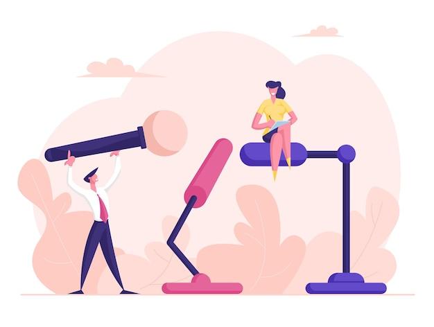 Drobni mężczyźni i kobiety ze świata biznesu lub polityki stoją na trybunach z ogromnymi mikrofonami