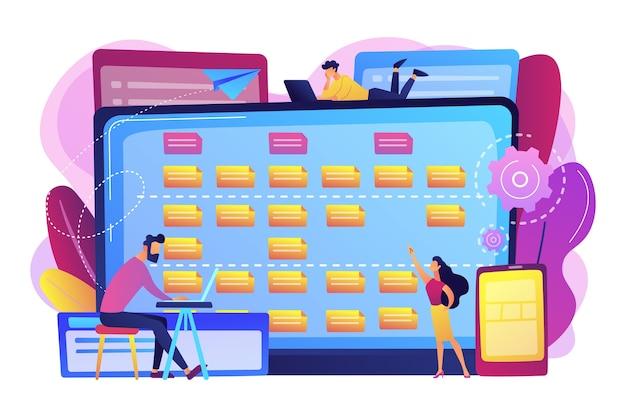 Drobni programiści przy laptopach i wymaganiach klientów opis wymagań dotyczących oprogramowania, narzędzie zwinne w przypadku użytkownika, koncepcja analizy biznesowej. jasny żywy fiolet na białym tle ilustracja