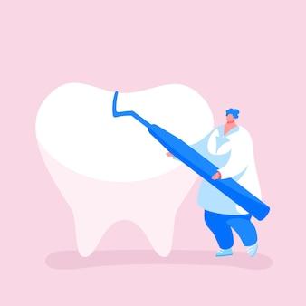 Drobny Dentysta Lekarz Postać Carry Carver Pielęgnacja Narzędzi Stomatologicznych Ogromnego Zęba Premium Wektorów