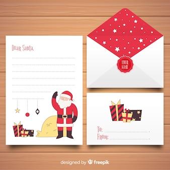 Drodzy święty mikołaj listu i koperty zestaw