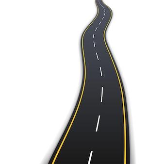 Droga asfaltowa z białym i żółtym oznakowaniem do jazdy pojazdem na białym tle. realistyczna ścieżka autostrady 3d z nawigacją. ilustracja wektorowa