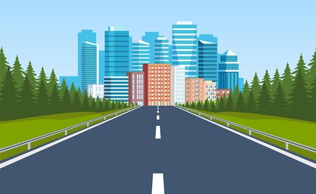 Droga do budynków miejskich na horyzoncie.