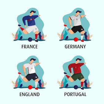 Droga do euro z koncepcją koszulki francji, niemiec, anglii i portugalii