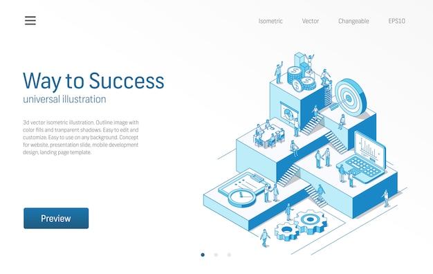 Droga do sukcesu. praca zespołowa ludzi biznesu w otwartej przestrzeni biurowej. ilustracja izometryczny linii nowoczesnej strategii marketingowej. plan finansowy, ikona spotkania. tło. koncepcja plansza krok wzrostu.