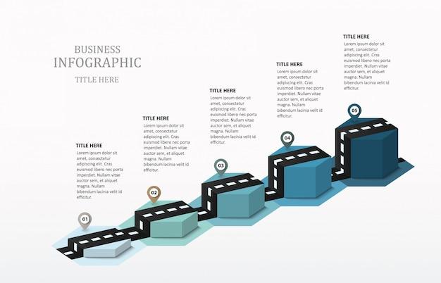 Droga infographic sześciokąt 5 wykres słupkowy