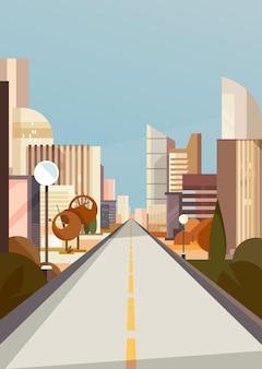 Droga miejska w sezonie jesiennym. pejzaż miejski w orientacji pionowej.