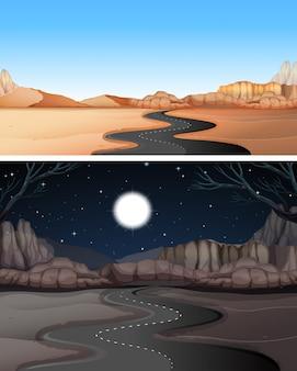 Droga na pustynię w dzień iw nocy