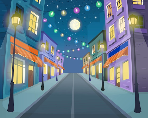 Droga przez ulicę z latarniami i girlandą. ilustracja wektorowa ulicy miasta w stylu cartoon.