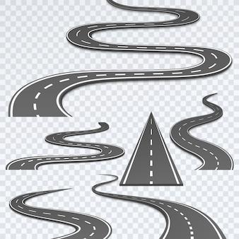 Droga z białymi paskami na tle kratki.