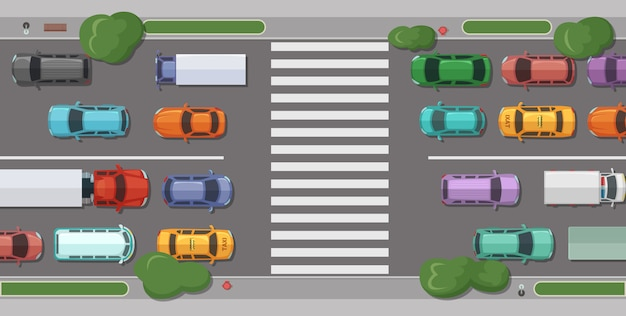 Droga z samochodami przed strefą dla pieszych