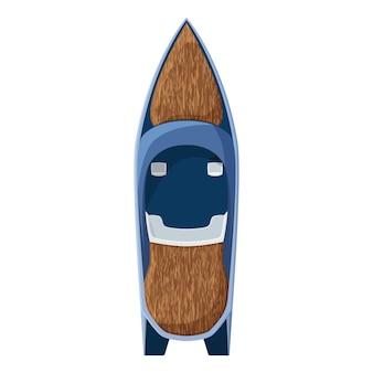 Drogi jacht motorowy na białym tle. łódź motorowa wyłożona drewnem. wektor eps10.