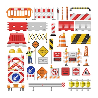 Drogowego znaka ruchu drogowego ostrzeżenia i barykady uliczni bloki na autostrady ilustracyjnym secie blokada drogi objazd i blokująca roadwork bariera na białym tle