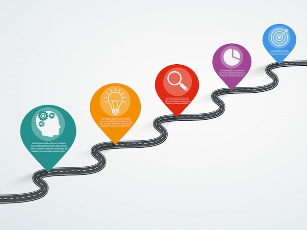 Drogowy infographic z pointerami, linia czasu z biznesowymi ikonami.