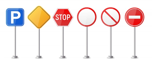 Drogowy znak ostrzegawczy, ruchu regulacyjny szablon odizolowywający na białym tło kolekci secie. ilustracja