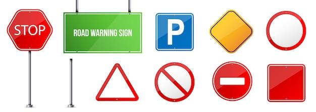 Drogowy znak ostrzegawczy, szablon przepisów ruchu drogowego.