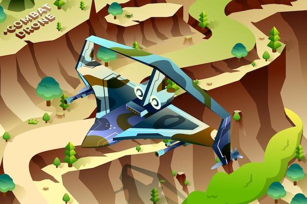 Dron bojowy - ilustracja izometryczna