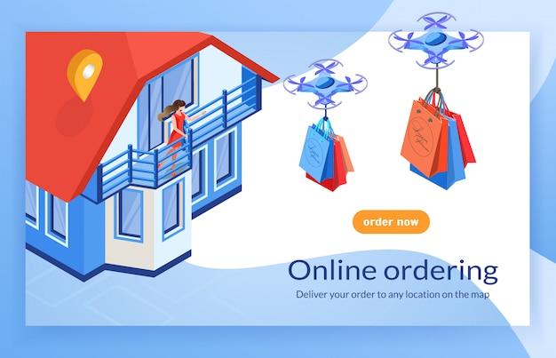 Dron dostarcza torby do domu kobiety zamawiania online.