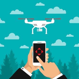 Dron dostarczający nad lasem. kontrola dronów przez telefon. szybki i wygodny transport. szablon kwadrokoptera. ilustracja na białym tle.