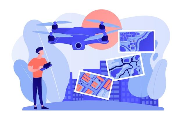 Dron, operator quadkoptera, pilot wykonujący zdjęcia. uav z kamerą