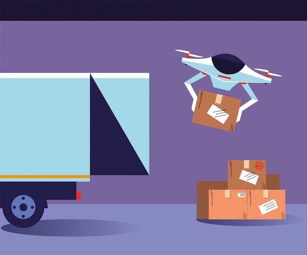 Dron przenosi pudła z ciężarówki dostawczej