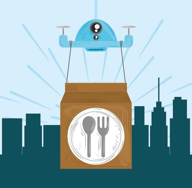 Dron usługi szybkiej dostawy z ilustracją opakowania żywności