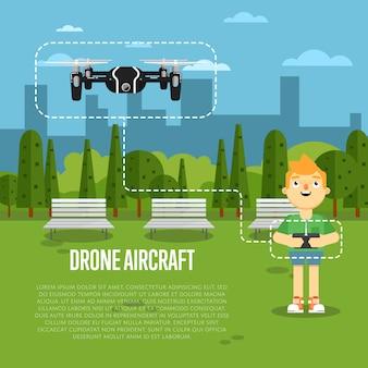 Drone banner samolotu z latającym robotem